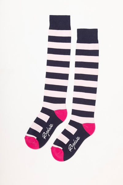 Navy/Sorbet - Broadstripe Knee Length Socks