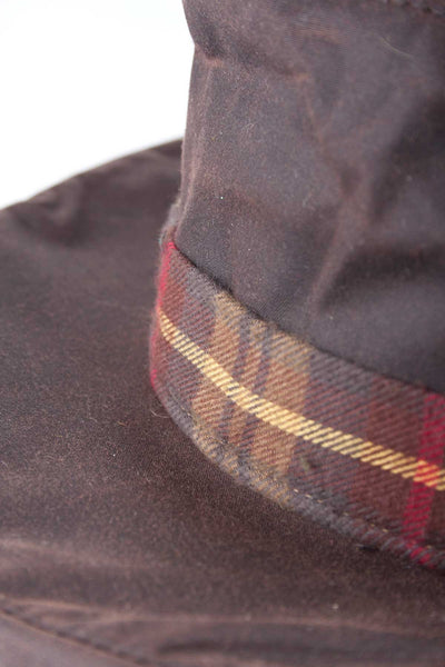 Brown - Womens Wax hat With Tartan Check Band