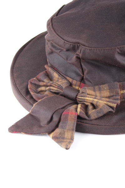 Brown - Ladies Waxed Cotton Check Bow Hat