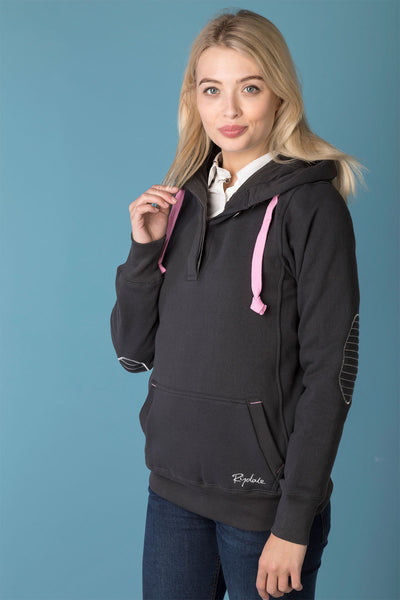 Gunmetal - Ladies Button Neck Hoody Plain