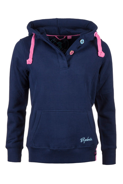 Navy - Button Neck Hoody