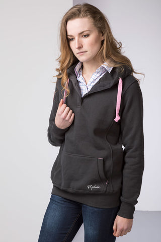 Gunmetal - Ladies Button Neck Numbered Hoody