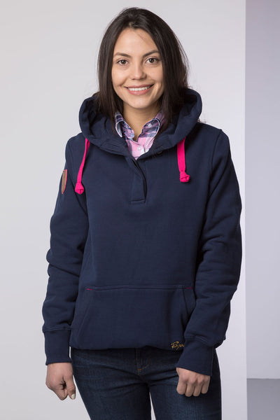 Navy - Ladies Button Neck Numbered Hoody