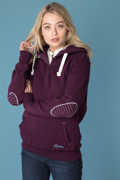 Berry - Ladies Button Neck Numbered Hoody