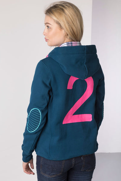 Petrol - Ladies Button Neck Numbered Hoody