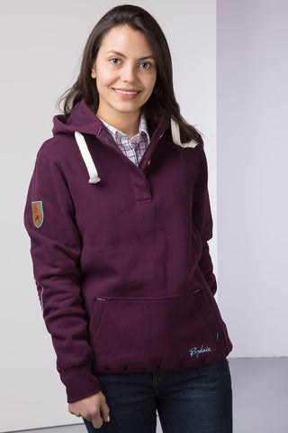 Berry - Ladies Button Neck Hoody Plain