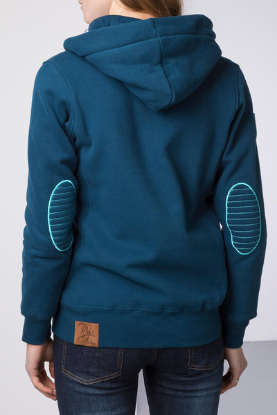Petrol - Ladies Button Neck Hoody Plain