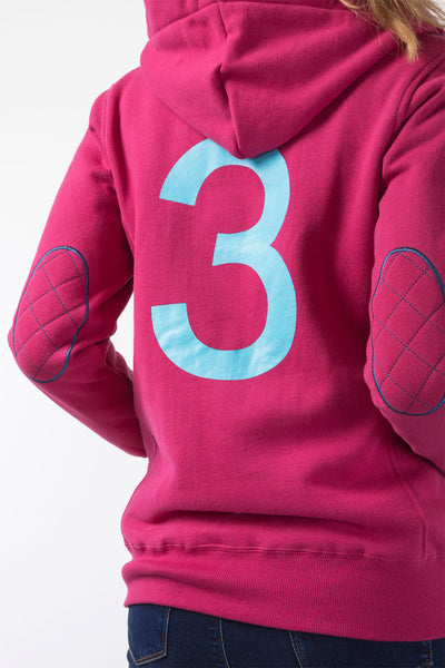 Raspberry - Button Neck Hoody