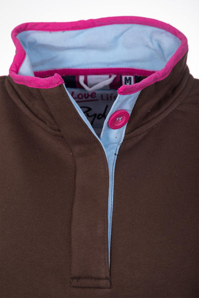 Mocha - Button Neck Sweatshirt