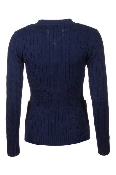 Navy - Rydale Ladies Cable Knit Cardigan