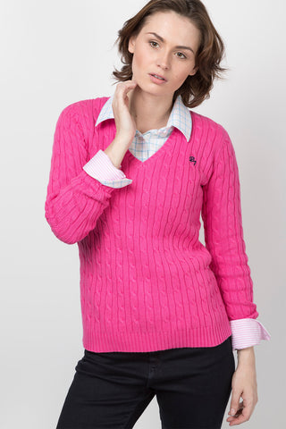 Bonbon - 2016 V Neck Cable Knit Sweater