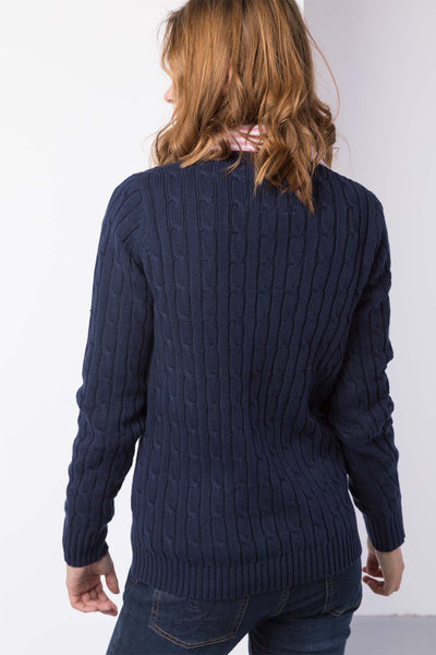 Navy - Ladies V Neck Cable Knit Sweater