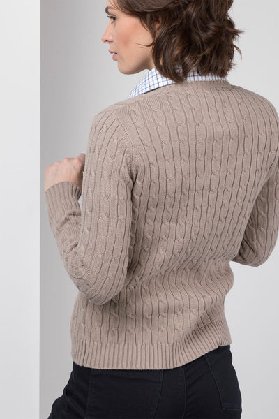 Oatmeal - 2016 V Neck Cable Knit Sweater