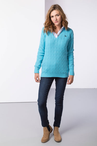 Sky Blue - Ladies V Neck Cable Knit Sweater