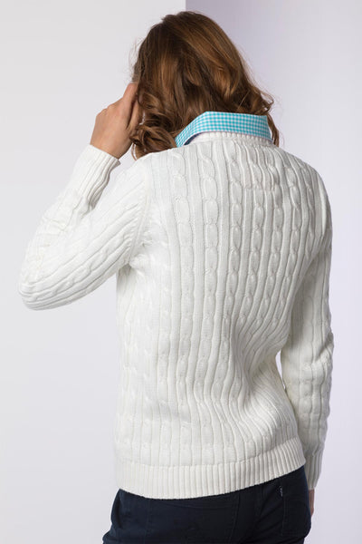 Vanilla - 2016 V Neck Cable Knit Sweater