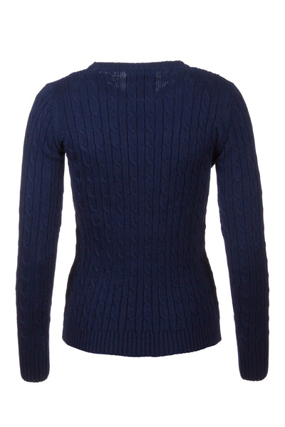 Navy - Cable Knit Sweater by Rydale