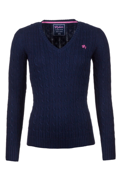 Navy - 2016 V Neck Cable Knit Sweater