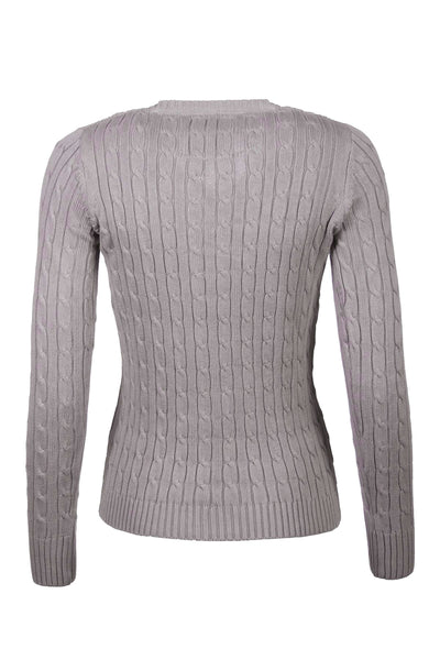 Silver - 2016 V Neck Cable Knit Sweater