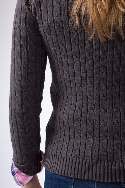 Dark Charcoal - 2016 V Neck Cable Knit Sweater