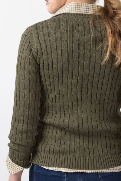 Olive II - 2016 V Neck Cable Knit Sweater