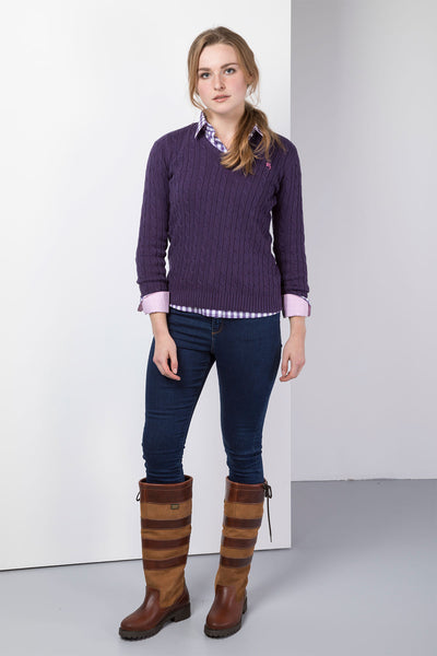 Purple - 2016 V Neck Cable Knit Sweater