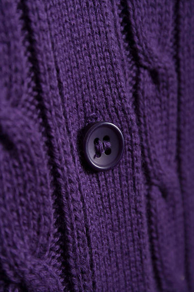 Damson - Rydale Ladies Cable Knit Cardigan