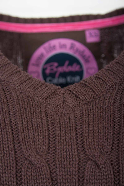 Chocolate - V Neck Cable Knit Sweater