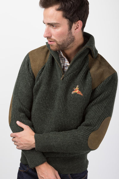 Olive Pheasant - Zip Neck Shooting Sweater