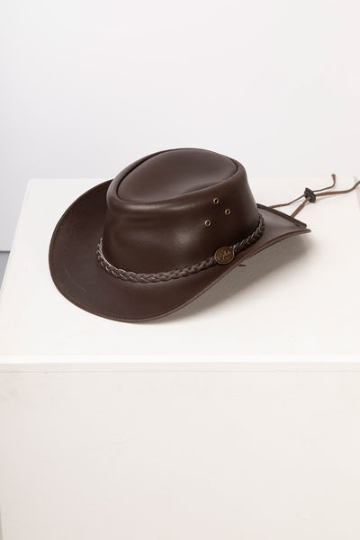 Brown - Men's Leather Hat - Cottam
