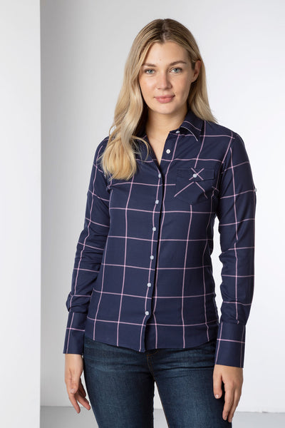 Navy - Ladies Hannah Country Shirt - Laura Tweed