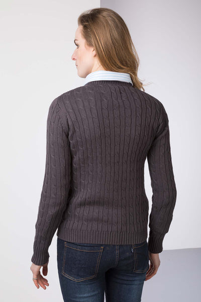 Dark Charcoal - Cable Knit Sweater by Rydale