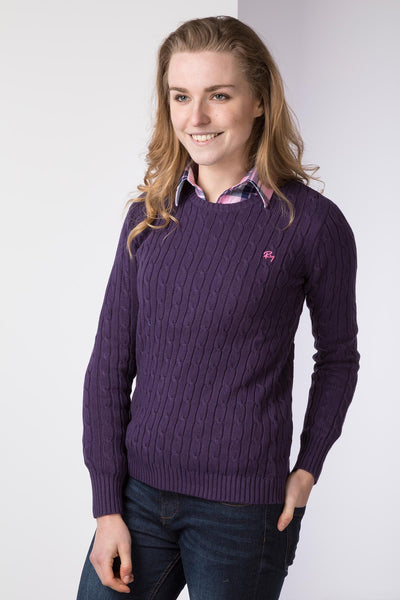 Purple II - Cable Knit Sweater by Rydale