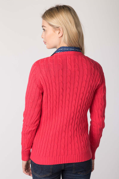 Rose - Ladies Crew Neck Cable Knit Sweater