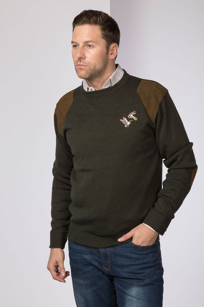 Olive Mallard - Fine Crew Neck Shooting Sweater