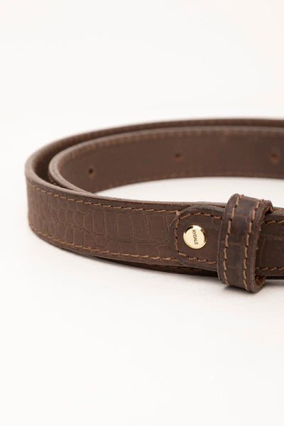 Brown - Croc Effect Leather Belt