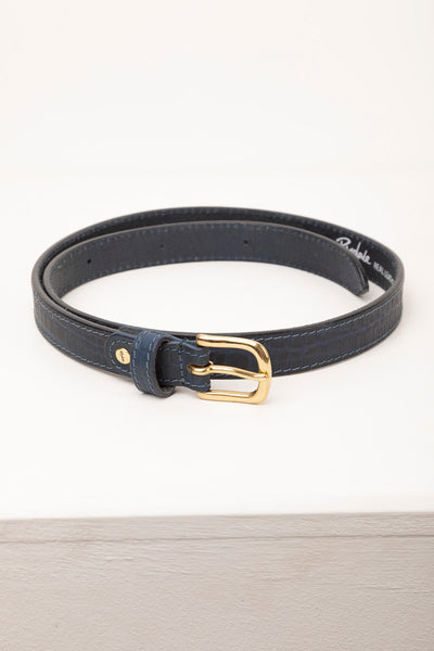 Navy - Croc Effect Leather Belt
