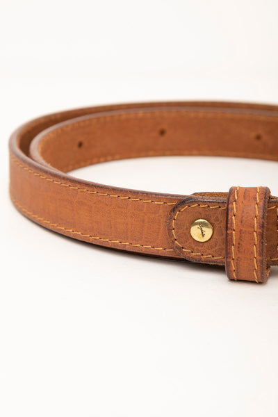 Tan - Croc Effect Leather Belt