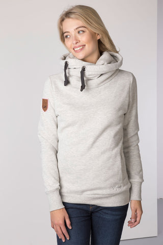 Marl Grey - Cross Neck Hoody with Number