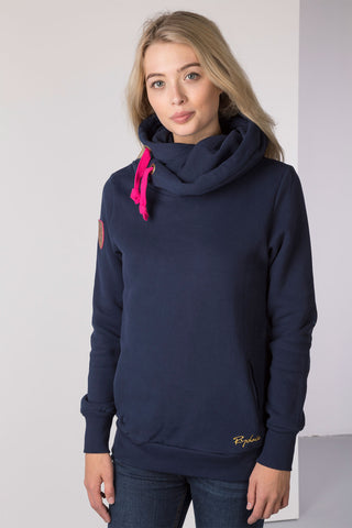 Navy - Ladies Cross neck Hoody