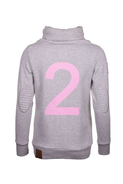 Soft Grey - Cross Neck Sweatshirt with Number