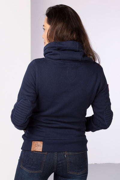 Navy - Ladies Cross Neck Sweatshirt Plain