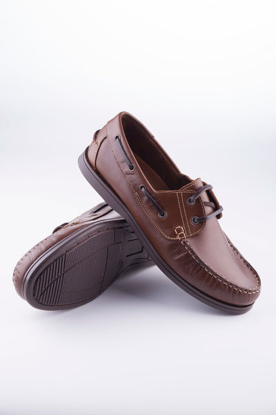 Brown - Laced Leather Deck Shoe