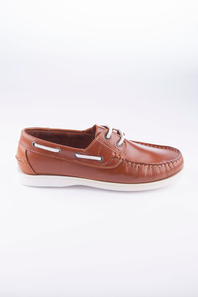 Light Brown - Laced Leather Deck Shoe