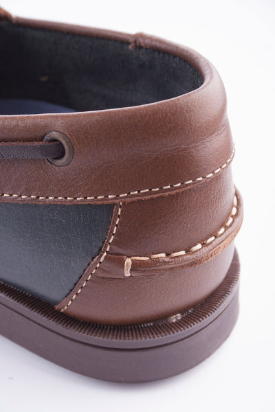 Brown/Navy - Laced Leather Deck Shoe
