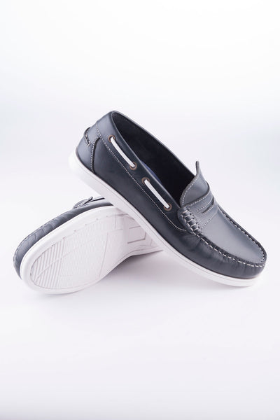 Navy - Loafer Leather Deck Shoes