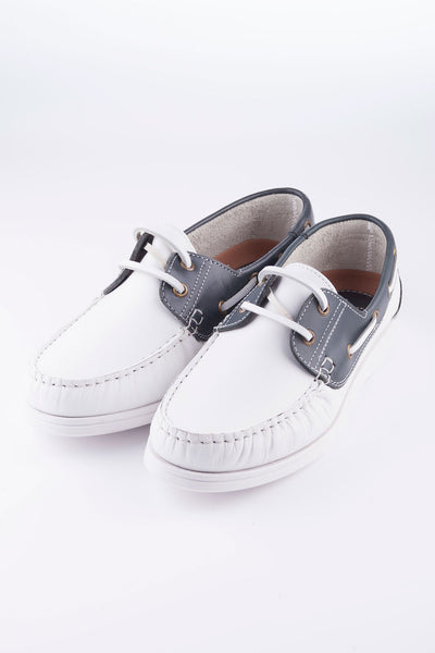 White/Navy - Laced Leather Deck Shoe