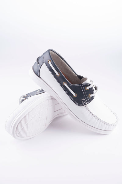 White/Navy - Rydale Leather Deck Shoe