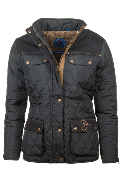 Black - Ladies Soft Quilted Jacket With Denim Trim