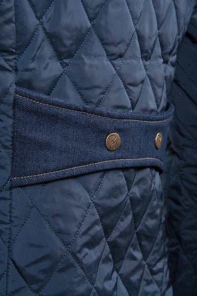 Navy - Ladies Quilt Jacket With Luxury Trims