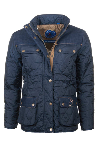 Navy - Ladies Soft Quilted Jacket With Denim Trim